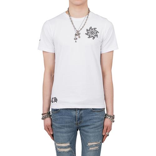 자수 레더패치 티셔츠(0066)-2컬러-쿠롬파츠